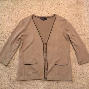 Tan with black trim, 3/4 sleeve cardigan